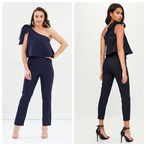 Missguided One Shoulder Bow Jumpsuit Navy